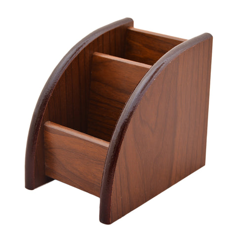 Beautiful Hand Crafted Wooden Stationary Holder - Brown - K-351