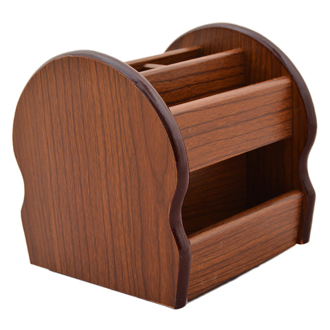 Beautiful Hand Crafted Wooden Stationary Holder - Brown - K-352