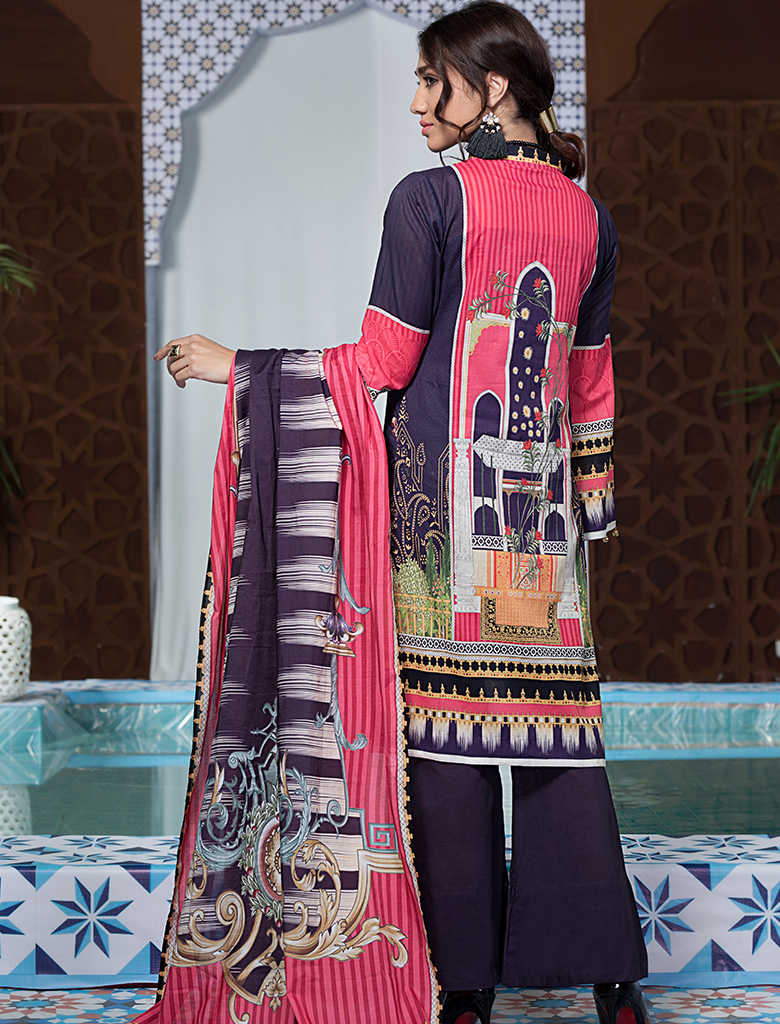 Khas Unstitched Lawn Collection Inviting Navy KL - 4100