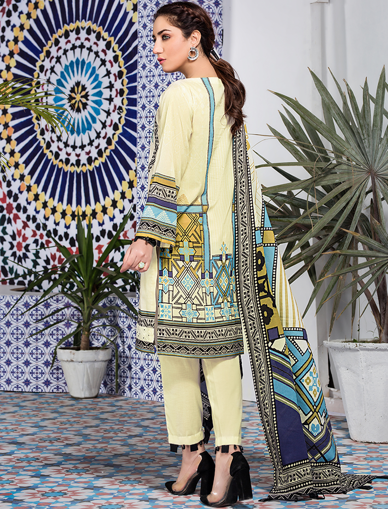Khas Unstitched Lawn Collection GRAPHICAL WAVE KL-4107
