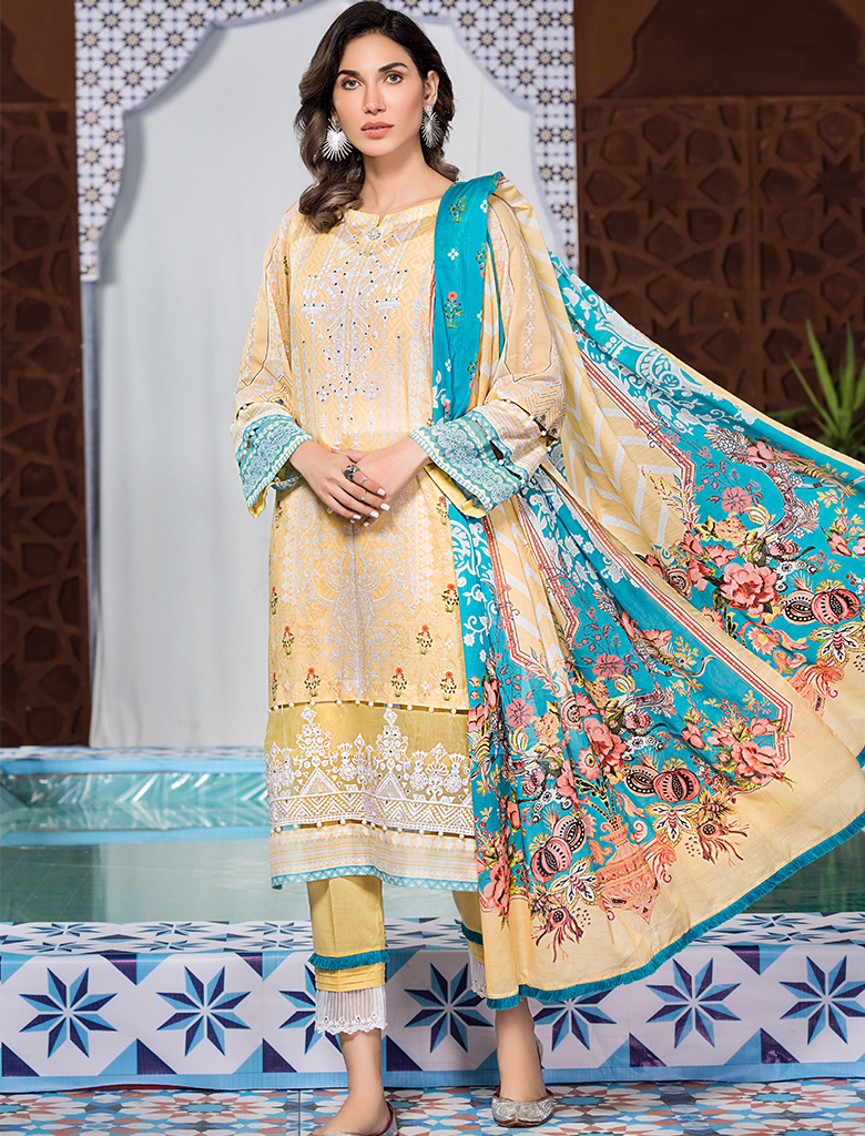 Khas Unstitched Lawn Collection Citrus Sour KL -4117