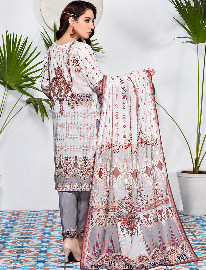 Khas Unstitched Lawn Collection Notorious Neutrals KLA - 9086