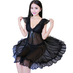 Ladies Adult Above Knee, Mini See-Through Mesh Chemise Sleepwear