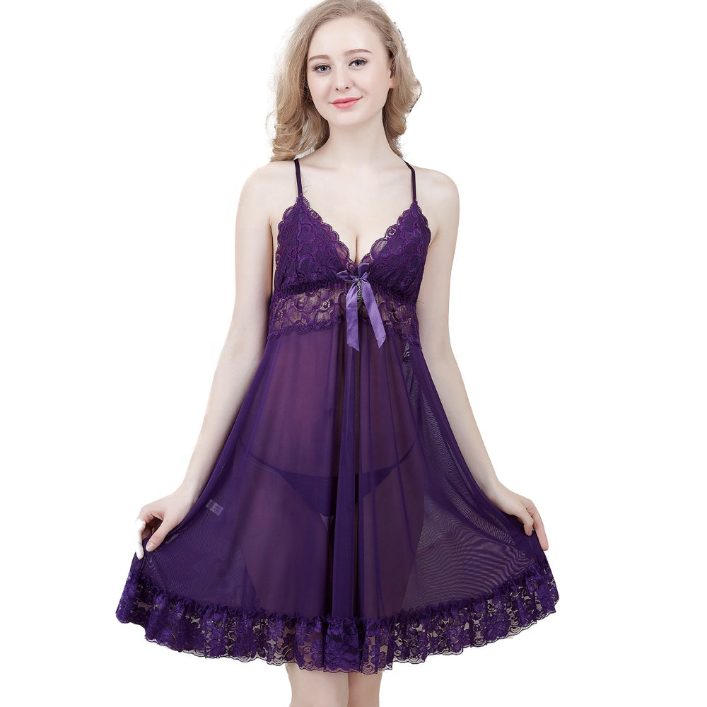 Lady See-through Mesh Chemise Sleepwear Women Strap Sexy Lingerie