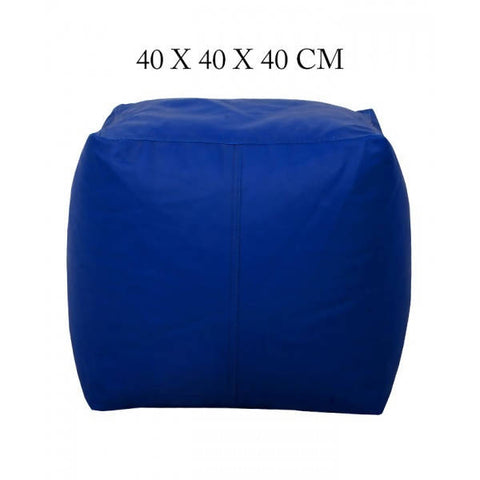 Relaxsit Square Shape Leather Stool Bean Bag - Blue