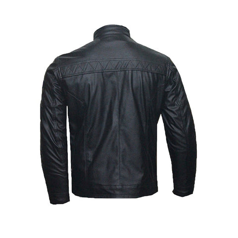 Men Slim Fit PU Leather Jacket  HB001-Black