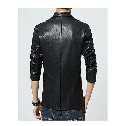Mens Slim Fit Pu Leather Coat Black