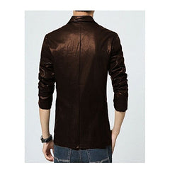 Mens Slim Fit Pu Leather Coat Chocolate Brown