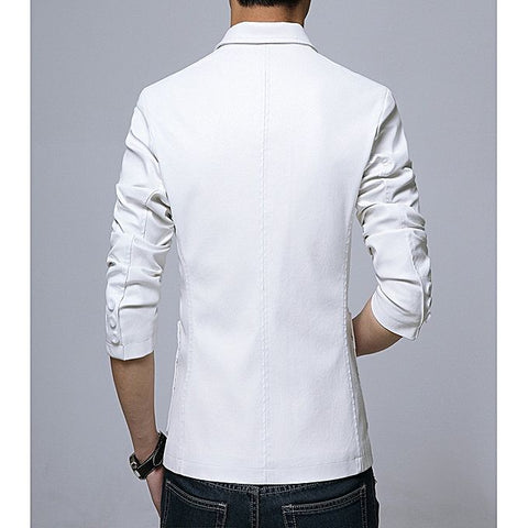 Mens Slim Fit Pu Leather Coat White