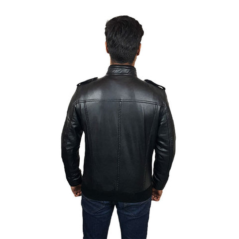 Men Slim Fit PU Leather Jacket B666 Black