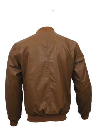 Men Slim Fit PU Leather Jacket BOOMBER-Brown
