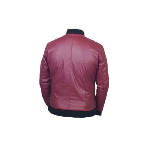 Men Slim Fit PU Leather Jacket BOOMBER Maroon