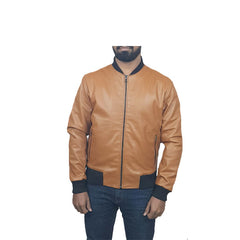 Men Slim Fit PU Leather Jacket BOOMBER Mustard