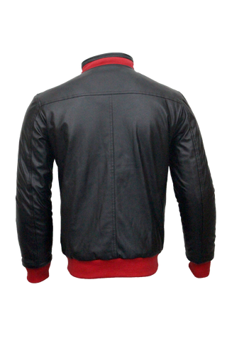 Men Slim Fit PU Leather Jacket RS4-Black