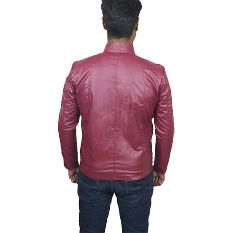 Men Slim Fit PU Leather Jacket RS2 Maroon