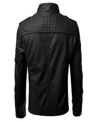 Mens Slim Fit Pu JACKET M2-Black