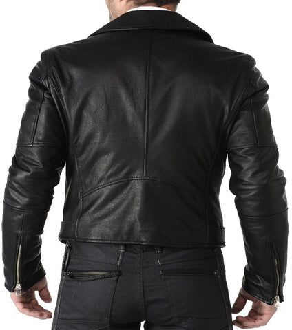 Mens Slim Fit Pu Leather Jacket HB006-Black