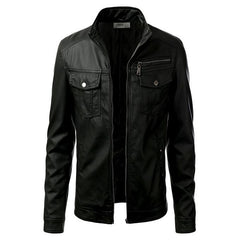 Mens Slim Fit Pu Leather Jacket MOD-Black