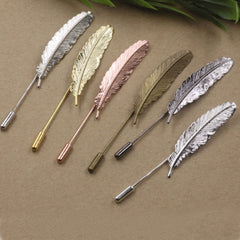 Shopping Mania Metal Feather Lapel Pin