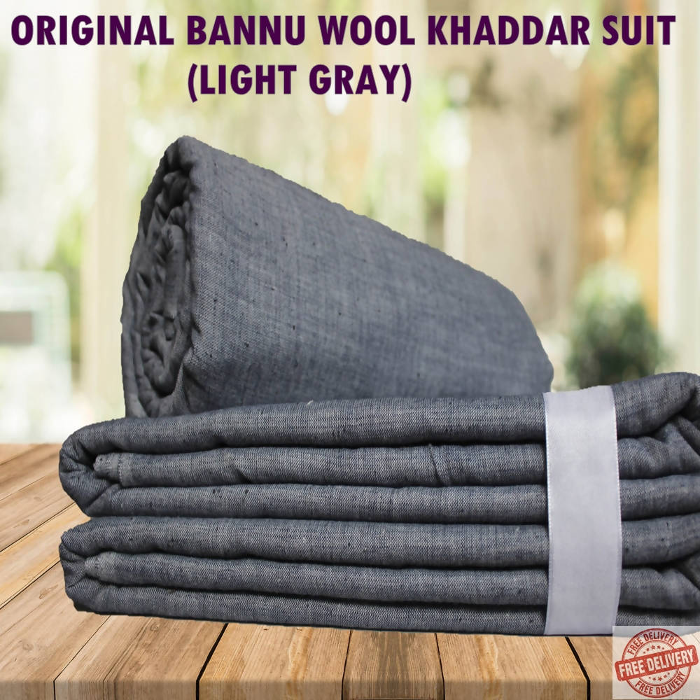 Unstitched Bannu Wool Khaddar Full Suit - Light Grey - 4 Meters - 0988