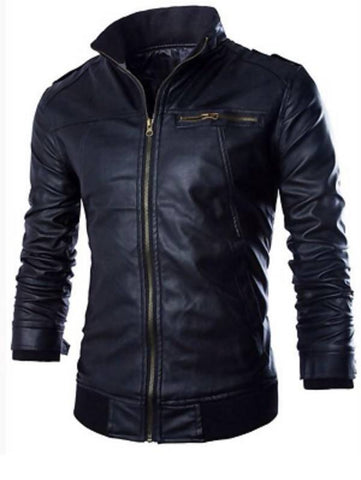 Black Slim Fit Leather Jacket For Mens