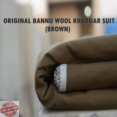 Unstitched Bannu Wool Khaddar Full Suit - Brown - 4 Meters - 0990