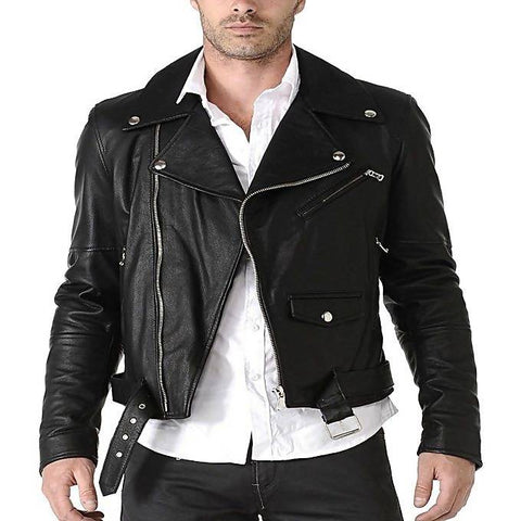 Men'sSlim Fit PU Leather Motorbike Jacket Black MB-117