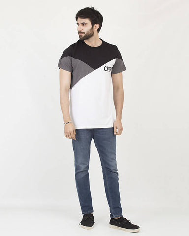 Crafted Mens 3 Color Lop&Bind Graphic Tee CTSM19-01-M