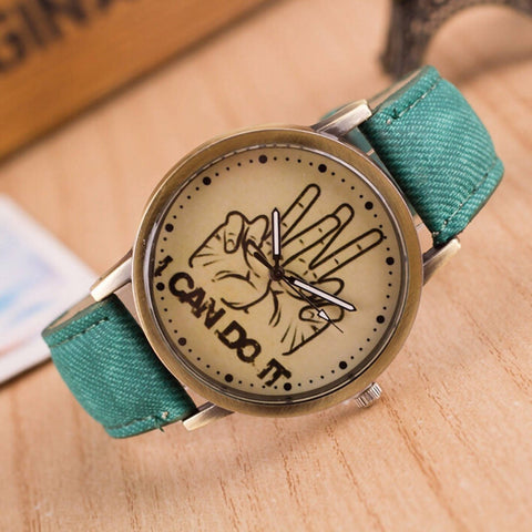 I Can Do It Victory Sign Unisex Green Denim Strap Wrist Watch