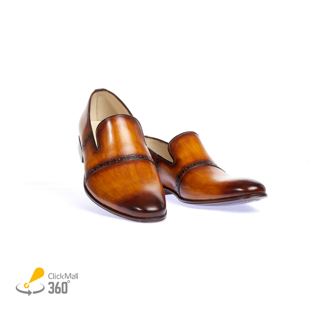 Oak Tree-Pure Leather Hand Painted Shoes - Tan