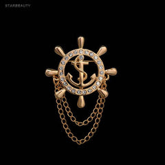 Anchor brooch lapel pin coat pin golden