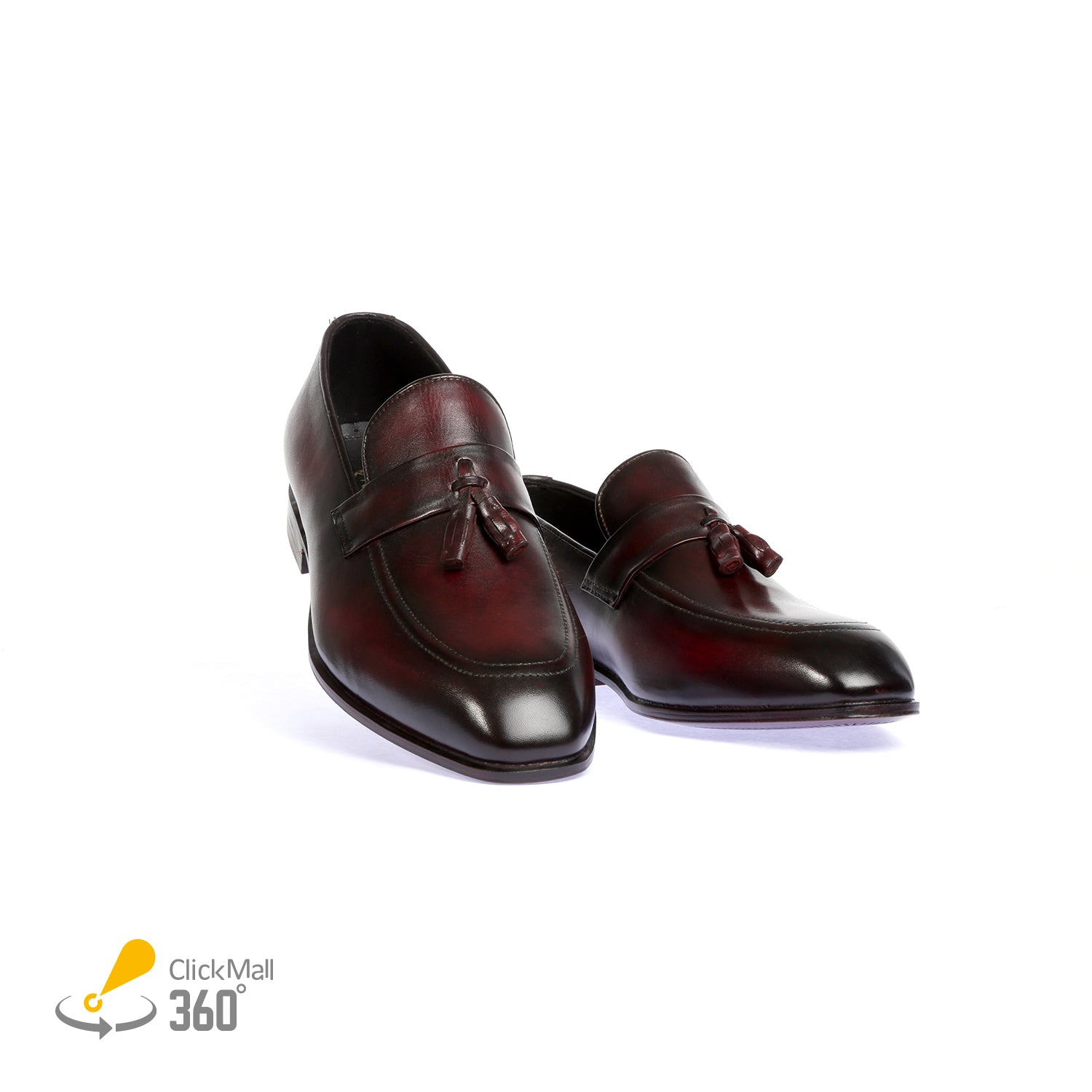 Pure Leather Hand Painted Shoes - Ox-blood/Black