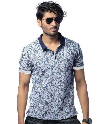 Grey Floral Printed Polo-PL-09