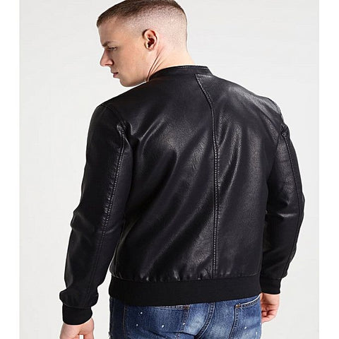 PU Leather Jacket For Men B5-Black