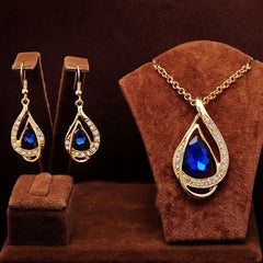 Shopping Mania Gold Filled Blue Ruby Necklace & Earrings