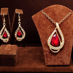 Shopping Mania Gold Filled Ruby Necklace & Earrings