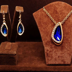 Shopping Mania Yellow Gold Filled Blue Sapphire Jewelry Sets Necklace + Earrings
