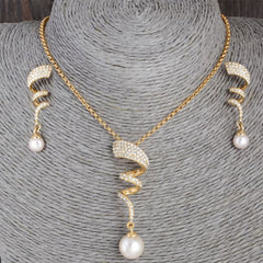 Shopping Mania Curly Gold Plated Pearl Jewelry Set