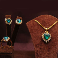 Shopping Mania Gold Filled Sapphire Necklace With Earrings and Ring