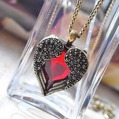 Shopping Mania Vintage Wing Red Gem Heart Pendant