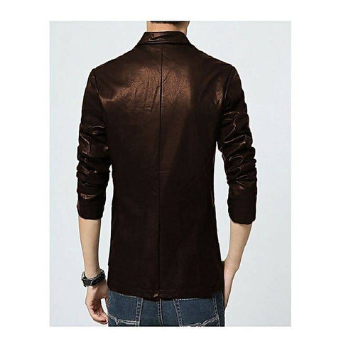 Men's Slim Fit PU Chocolate Brown Leather Coat MB-99