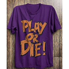 BuySense Purple Play Or Die Gamers Printed Half Sleeves Round Neck Tshirt For Men