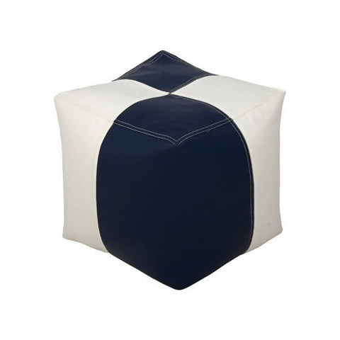 Relaxsit Square Shape Leather Stool Bean Bag - White & Blue