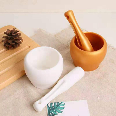 Plastic Spice & Herbs Grinder & Curhser - Plastic Bowl with Pestle - White - 7217