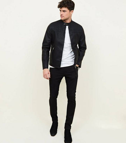 Moodish Men's Slim Fit Pu Black Leather Jacket M49