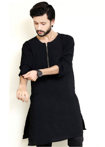 Black Kurta Boski Linen soft and comfortable for Summers- Medium