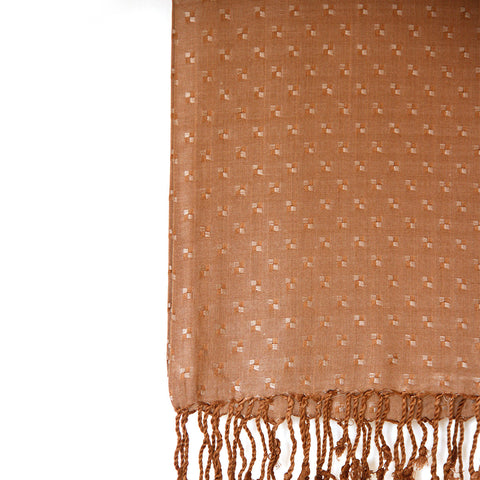 Brown Viscose with Tassels Blended Box Hijab - THC-3PCM-B1-02