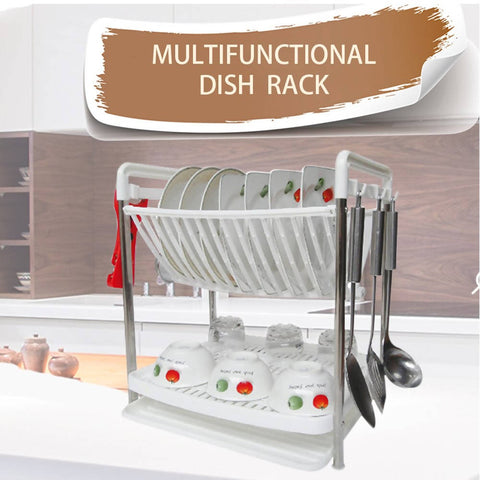 2 layer Multipurpose Plastic Folding Dish Rack Nonslip Height Adjustable (Double Groove) (White)