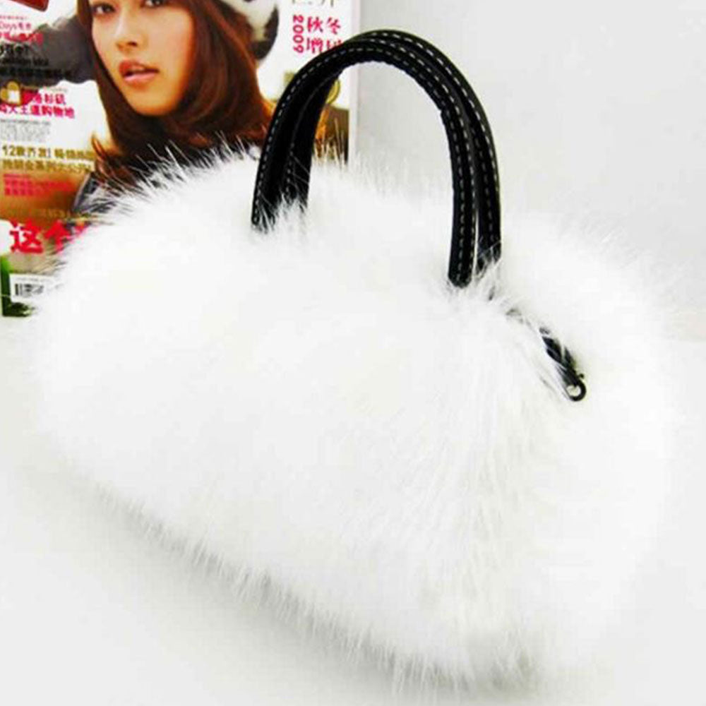 Shopping Mania Rabbit Fur Shoulder Handbag