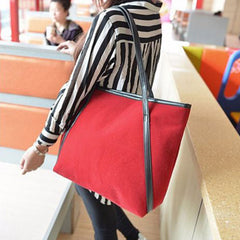 Shopping Mania Red Suede Leather Bag